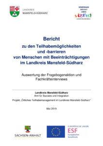 thumbnail of Bericht zu den Teilhabemöglichkeiten und -barrieren – 2019