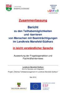 thumbnail of Zusammenfassung – Bericht zu den Teilhabemöglichkeiten und -barrieren – 2019